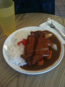 Around $8.75 -- this katsu curry was AMERICA SIZED and spiced to kill.