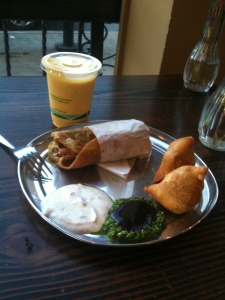 A kati roll, two samosas, mango lassi, and sauce.  ~$12 and delicious!
